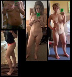 Selfie Mit Langen Haaren Und Kurzen Haaren Nackt Vor Dem Spiegel