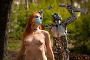 Corona Maske Gesichtsmaske Sexy Outdoor Nackt Shooting Frau Privates Foto
